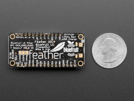 Adafruit Feather 32u4 Bluefruit LE, montiert, mit Stacking Headern