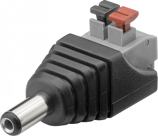 Terminalblock 2-pin > DC-Stecker (5,50 x 2,10 mm) - push-down Klemmbefestigung