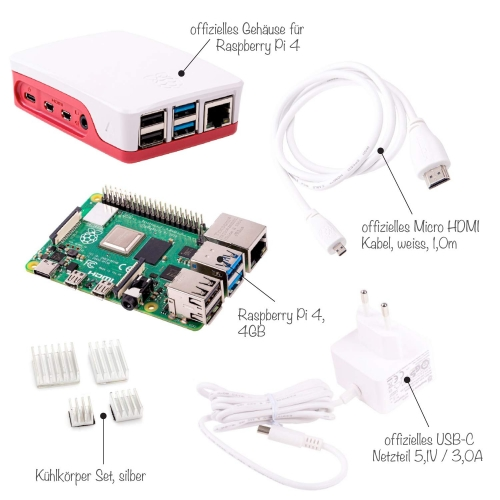 Raspberry Pi 4 Computer Modell B, 4GB RAM Light Starter Kit, weiß