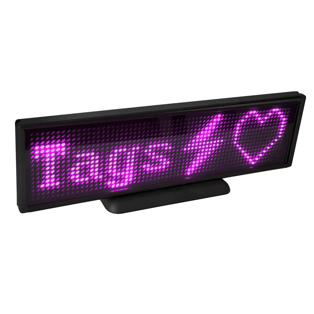 LED Display, 16x64 Pixel, USB, schwarz - LED: pink