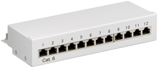 CAT 6 Mini Desktop Patchpanel, 12 Port, STP geschirmt, grau
