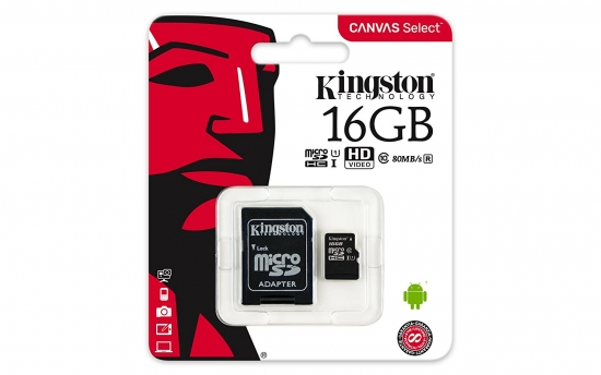 Kingston Canvas microSDHC Class 10 Speicherkarte + Adapter 16GB