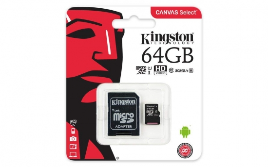 Kingston Canvas Select microSDXC Class 10 Speicherkarte + Adapter 64GB