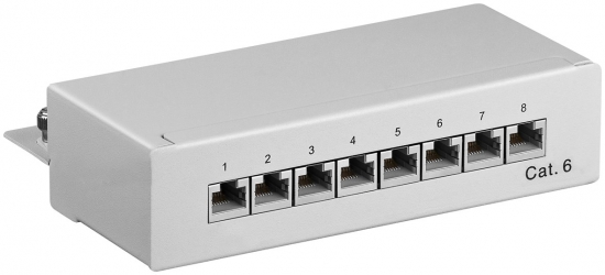CAT 6 Mini Desktop Patchpanel, 8 Port, STP geschirmt, grau