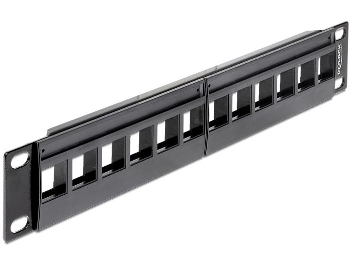 Keystone 10 Patchpanel 12 Port schwarz
