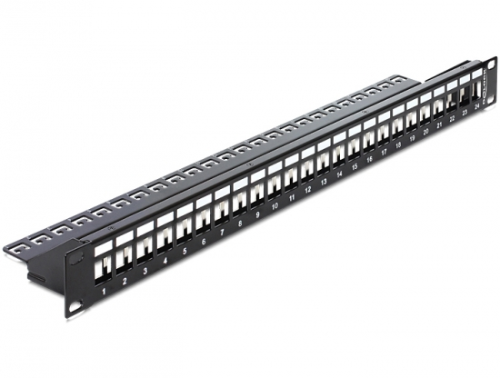 Keystone 19 Patchpanel 24 Port  schwarz