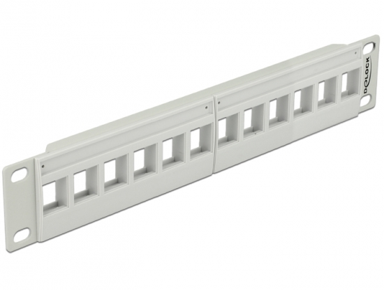 Keystone 10 Patchpanel 12 Port grau