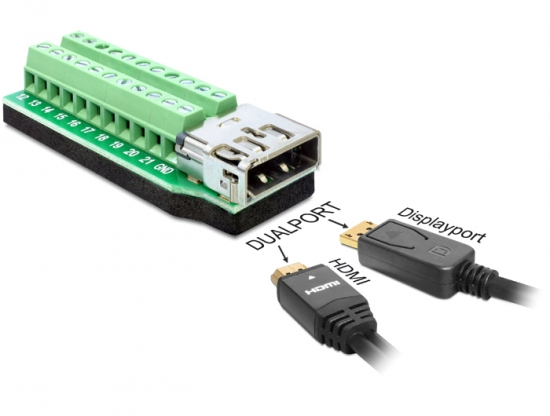Adapter Dualport HDMI + Displayport Buchse - Terminalblock 22 Pin