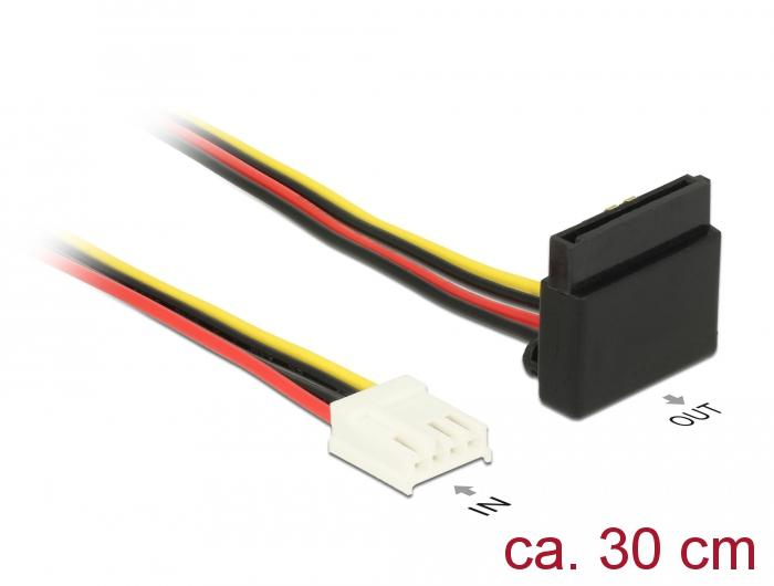 Power Kabel, 4 Pin Floppy Buchse - 1x SATA 15 Pin Buchse gewinkelt, Metallclip, 30cm