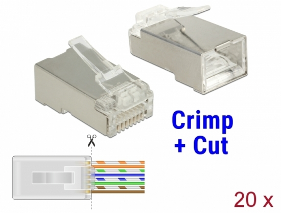 CAT 5e RJ45 Crimp+Cut Stecker STP, 20 Stück