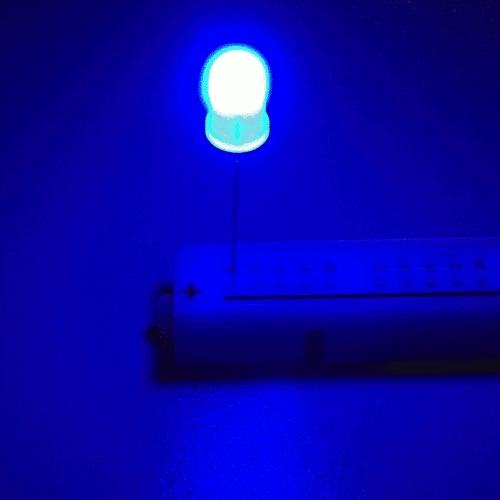 OptoSupply LED, 5mm, blinkend, 1000-3500mcd, 30°, 1.8Hz, diffus, rot/blau